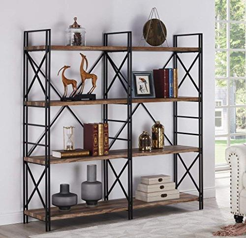 "Homissue Shelf Double and Shelves, Stand, Etagere with Open Brown, 64.2""Height"