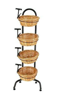 4 Tier Basket Stand, Sign Clips, Wicker Grocery Store Rack D