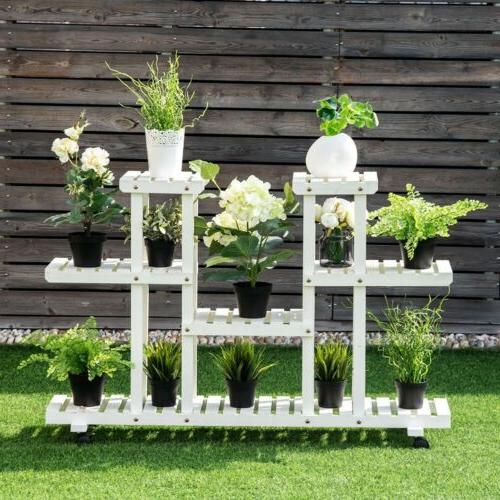 4-Tier Wood Casters Rolling Shelf Plant Stand Pot Display Ra