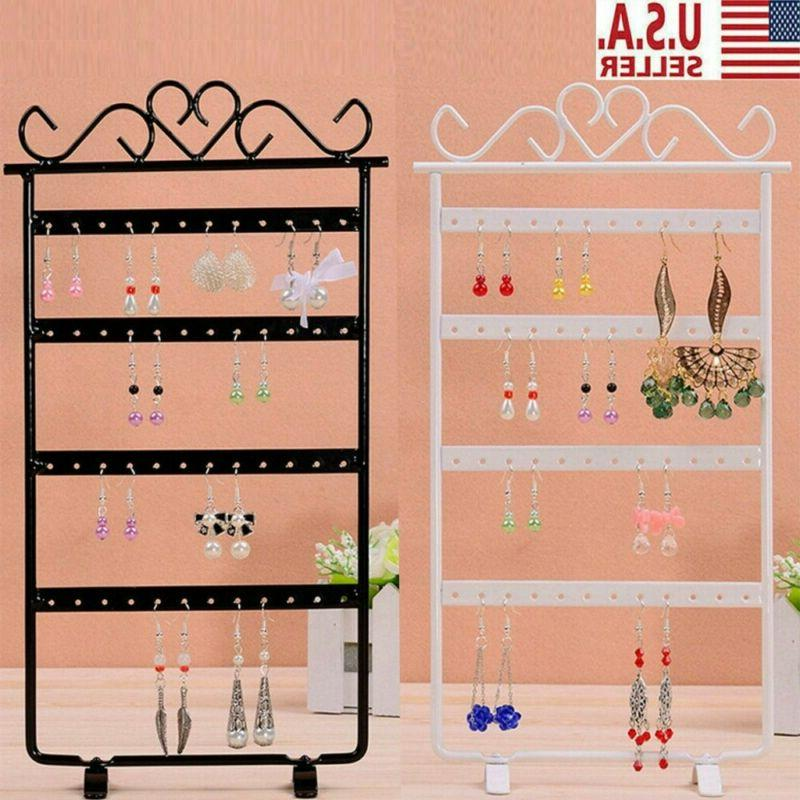 Jewelry Display Stand Rack Earring 48/72 Hole Holder Storage