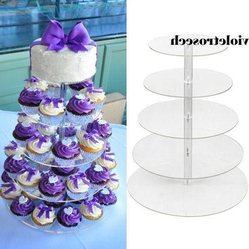 5/7 Tiers Acrylic CupCake Stand Toppers Display Cake Party