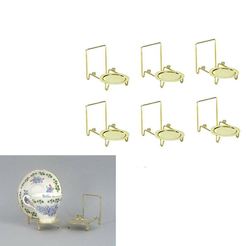 6pcs Tea Cup And Saucer Stand Display Easels Brass Etched Ba