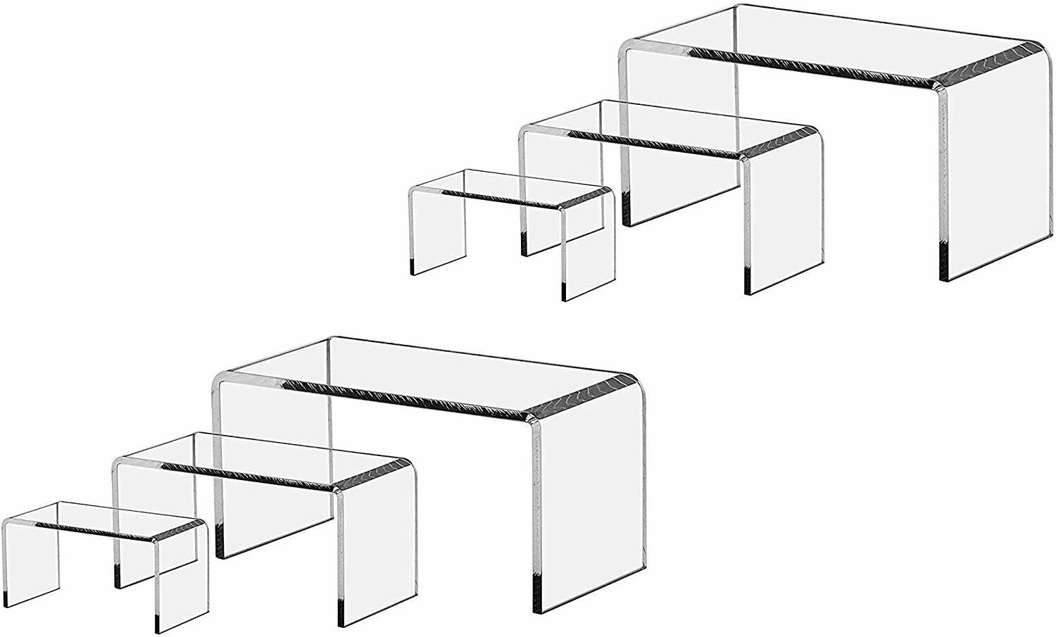 9 pieces set clear acrylic display riser