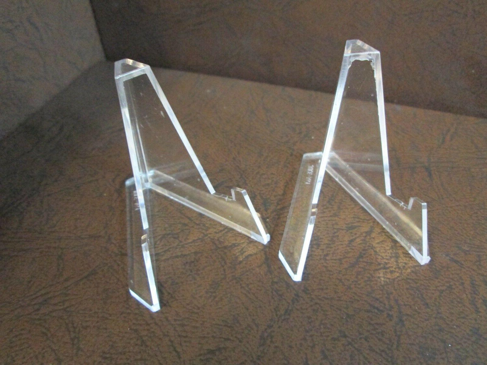Lot of 2 *Small Plus* Clear Acrylic Display Stand Easels