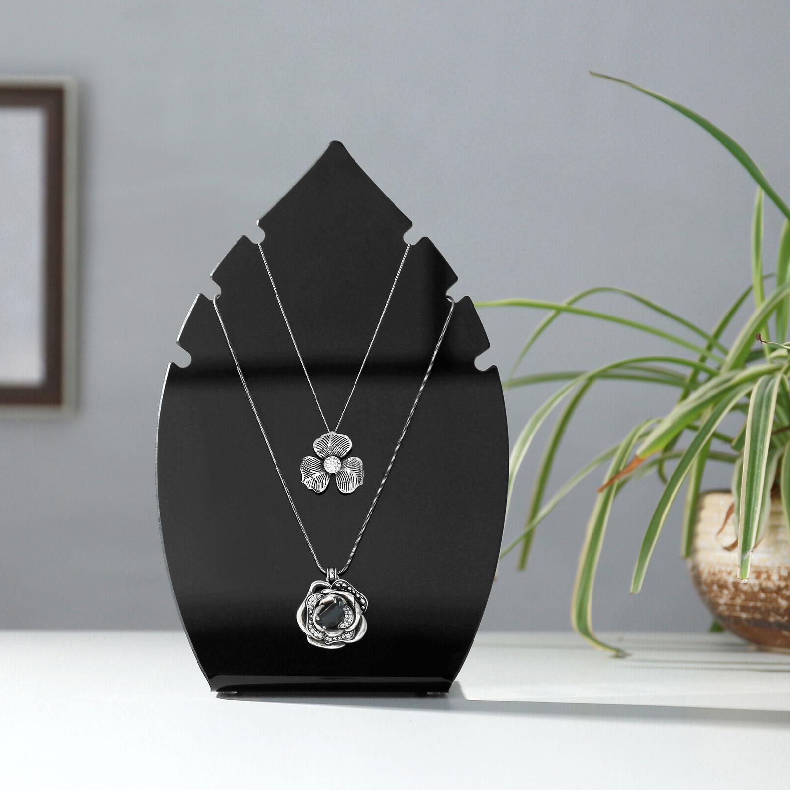 MyGift 10-Inch Leaf-Shaped Acrylic Necklace Stand