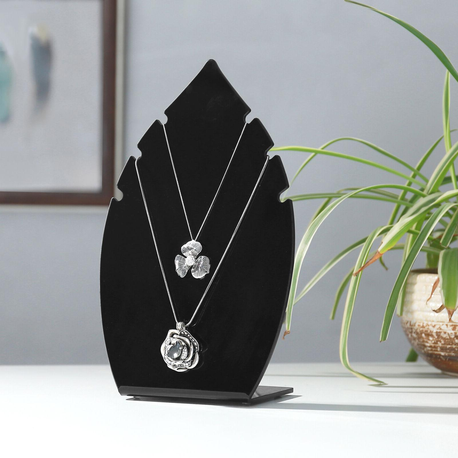 MyGift 10-Inch Leaf-Shaped Acrylic Jewelry Display Stand