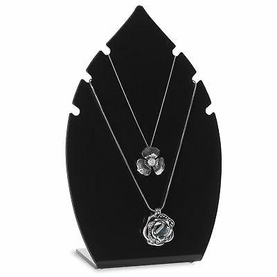 MyGift 10-Inch Leaf-Shaped Black Acrylic Necklace Jewelry Di