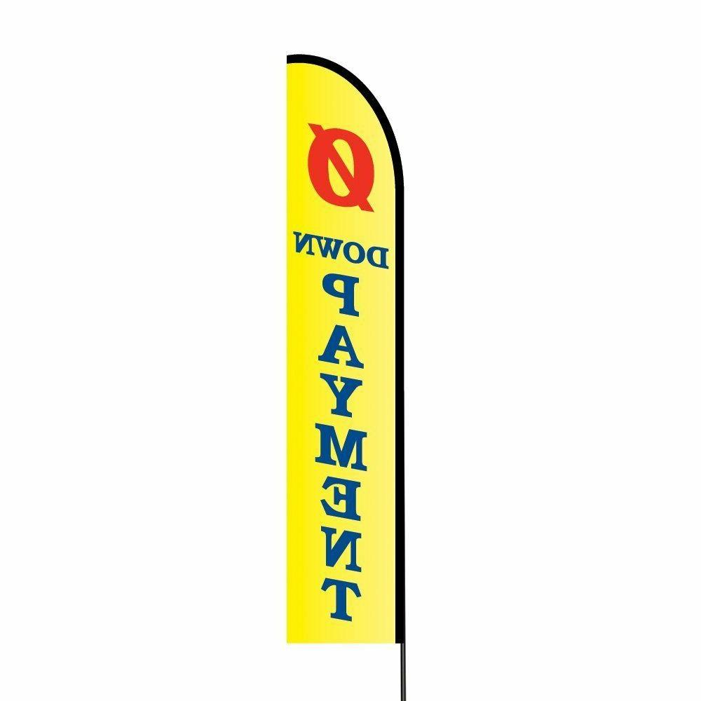 Zero Down Payment Feather Flags Banners w/ Pole Kit Stand, O