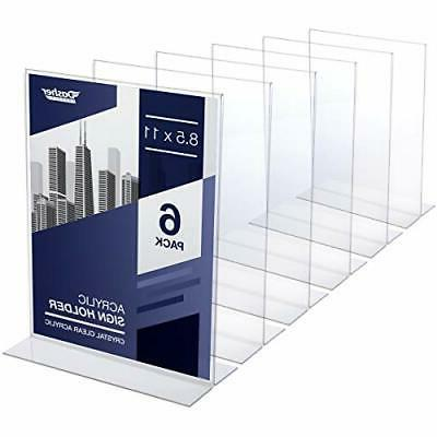 Acrylic Sign Holder 8.5 x 11 - Acrylic T Shape Table Top Dis