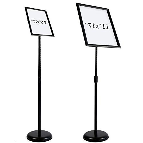 T-Sign Stand Snap Open Frame For 11 x 17 Inches Graphics, Both Vertical Horizontal View Sign Black,