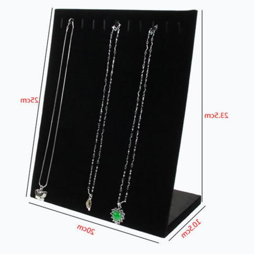 US Jewelry Velvet Necklace Chain Rack Storage