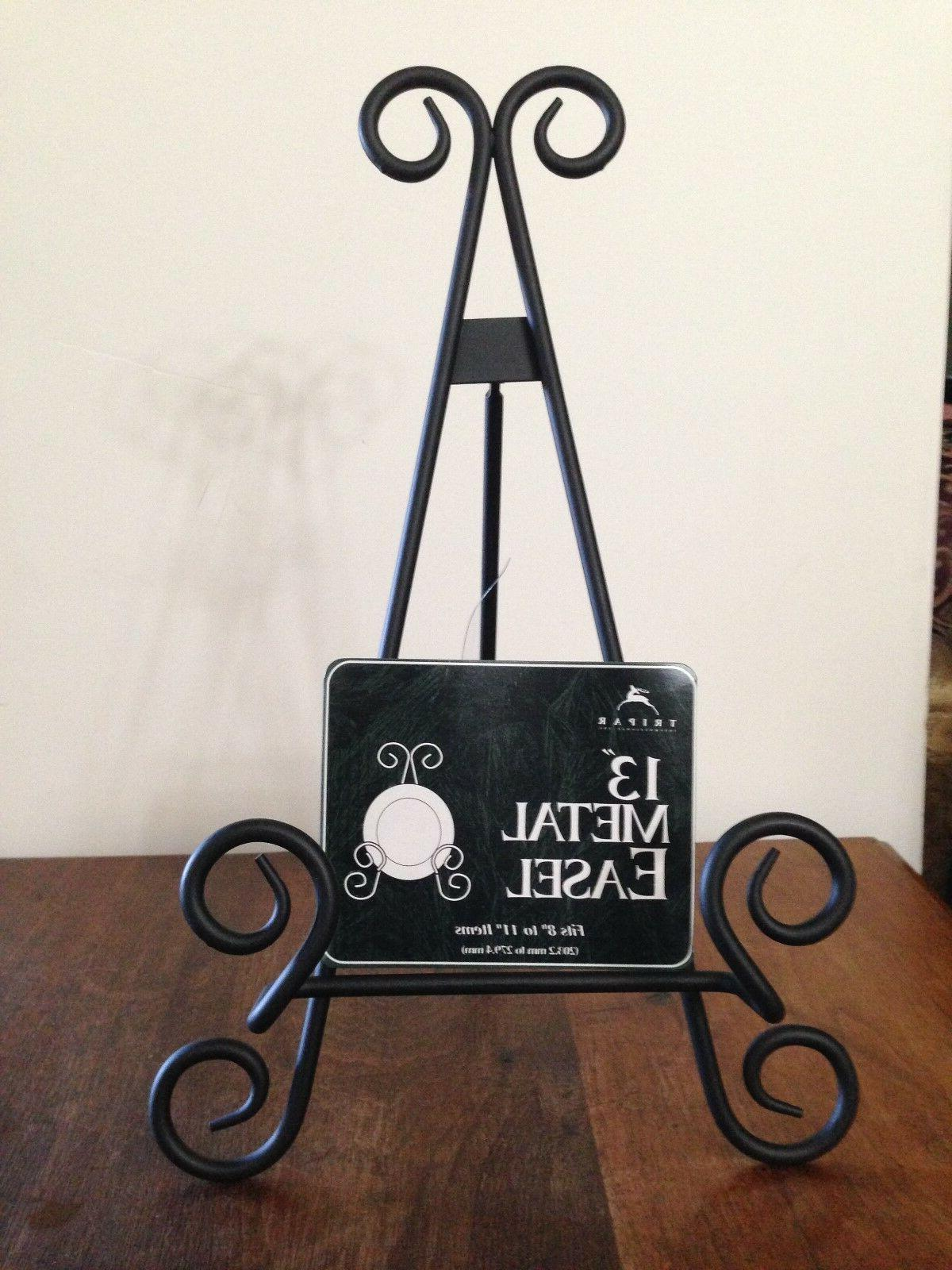 black metal scroll easel 13 plate picture