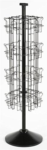 Black Wire Rotating Display Rack with 32 Pockets for 4 x 9 B