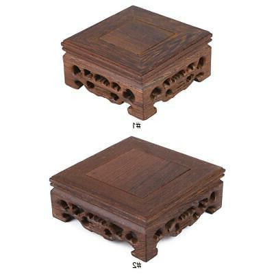chinese wood carving display stand pedestal square