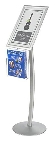 Displays2go CMB17NGW Floor Sign Stand with Literature Pocket