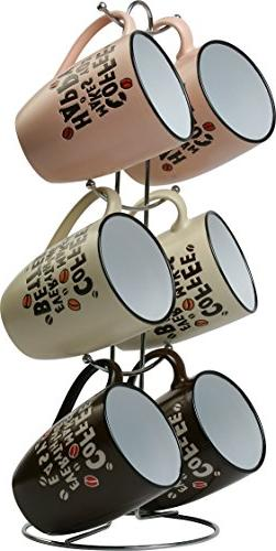 Wee's Beyond 8008-G Coffee Mug Set with Stand, 12oz, Assorte