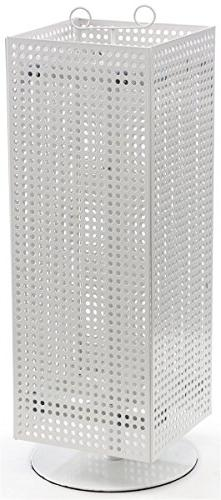 "Displays2go Counter Pegboard Spinner Rack, Magnetic, 28"", Wh"