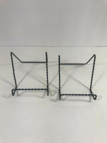 Display Easel Set of 2 Black Twisted Metal Wire Small Plate