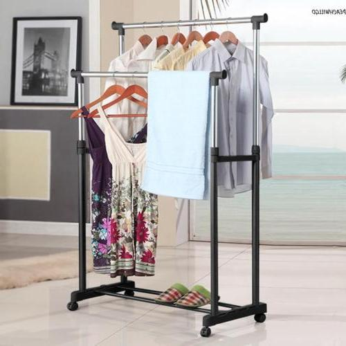 Double Clothes Coat Hanging Display Stand Shoe On~Wheels