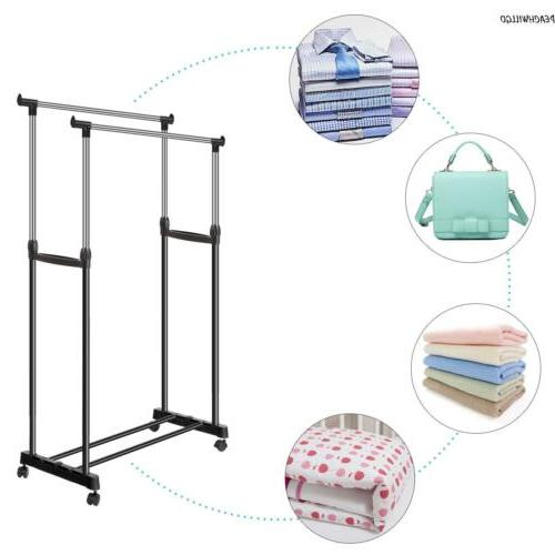 Double Clothes Rail Garment Coat Dress Display Stand Shoe Rack On~Wheels