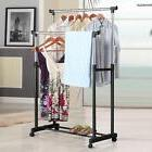 Double Clothes Rail Garment Coat Dress Hanging Display Stand