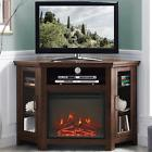 electric corner fireplace tv stand brown media