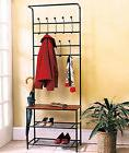 Entryway Storage Bench Coat Rack Black Metal Wood Seat Shelf