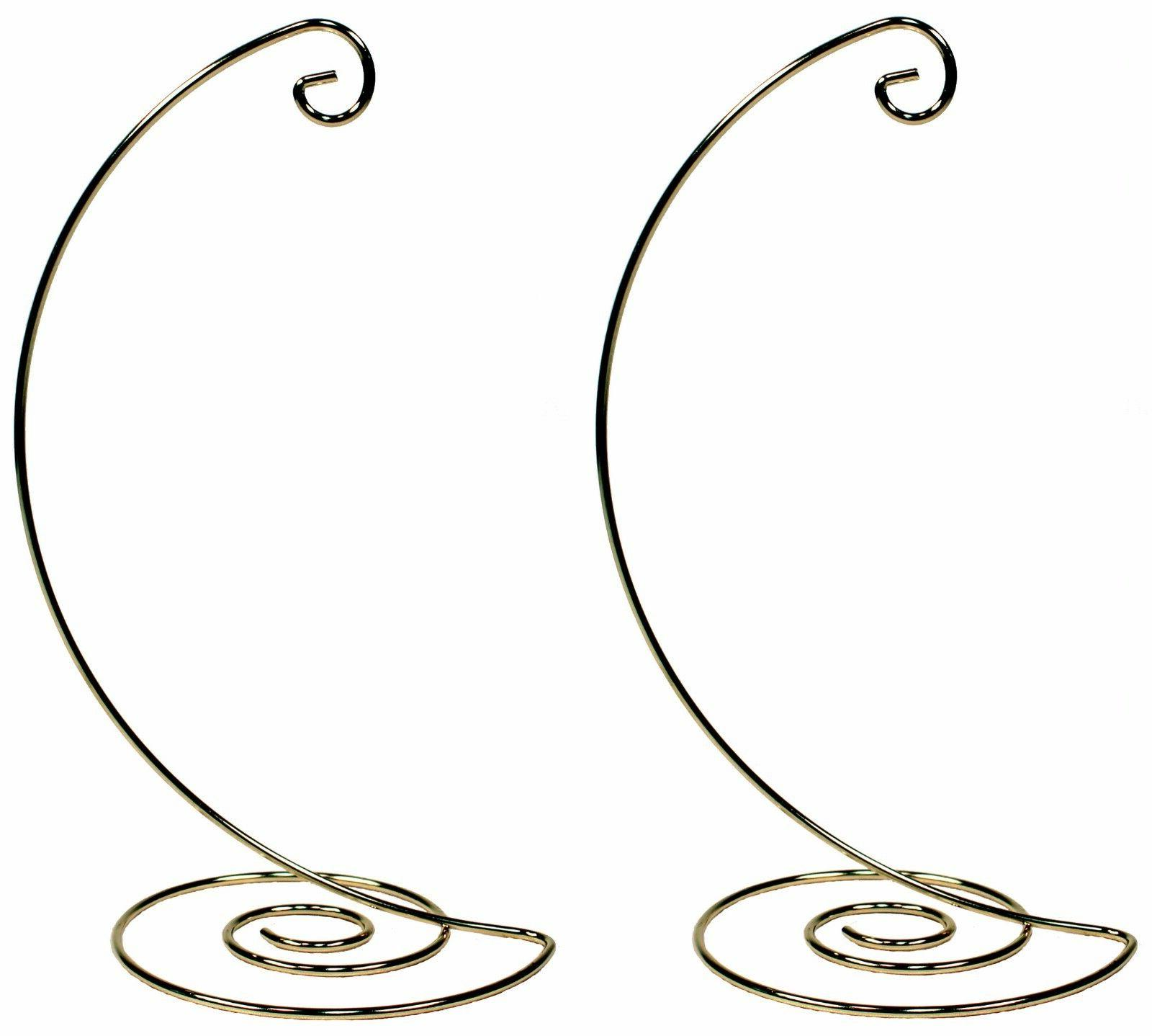 Fancy Gold Metal Ornament Display Hanger Stands, 10 Inch Tal