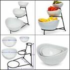 Food Serving Bowl 3Tier Metal Display Stand 3 Stoneware Bowl