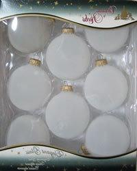 Frosted Glass Ball Ornaments with Gold Caps