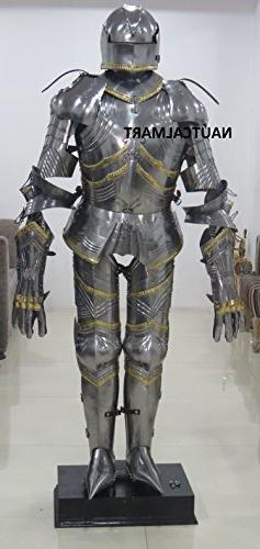 German Gothic Suit of Armour With Wooden Display Stand By Na
