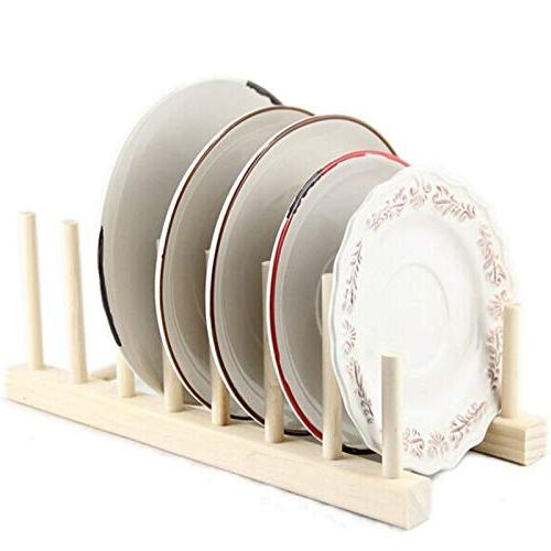 Kitchen Organizer Wooden Plate Display Holds Dish Drainer 7 Pots Cup 28x 5x - Stainless On