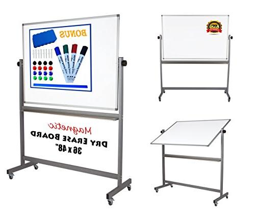 magnetic mobile whiteboard stand double