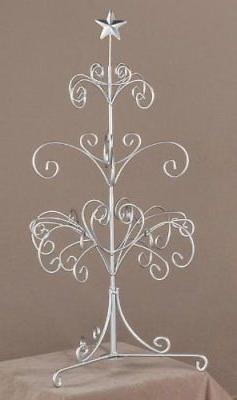 Modern Silver Painted Metal Ornament Tree, Accessory and Jew