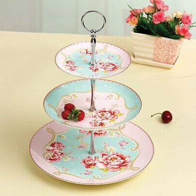 New 3 Tier Glass Tea Party Cake Cupcake Display Stand