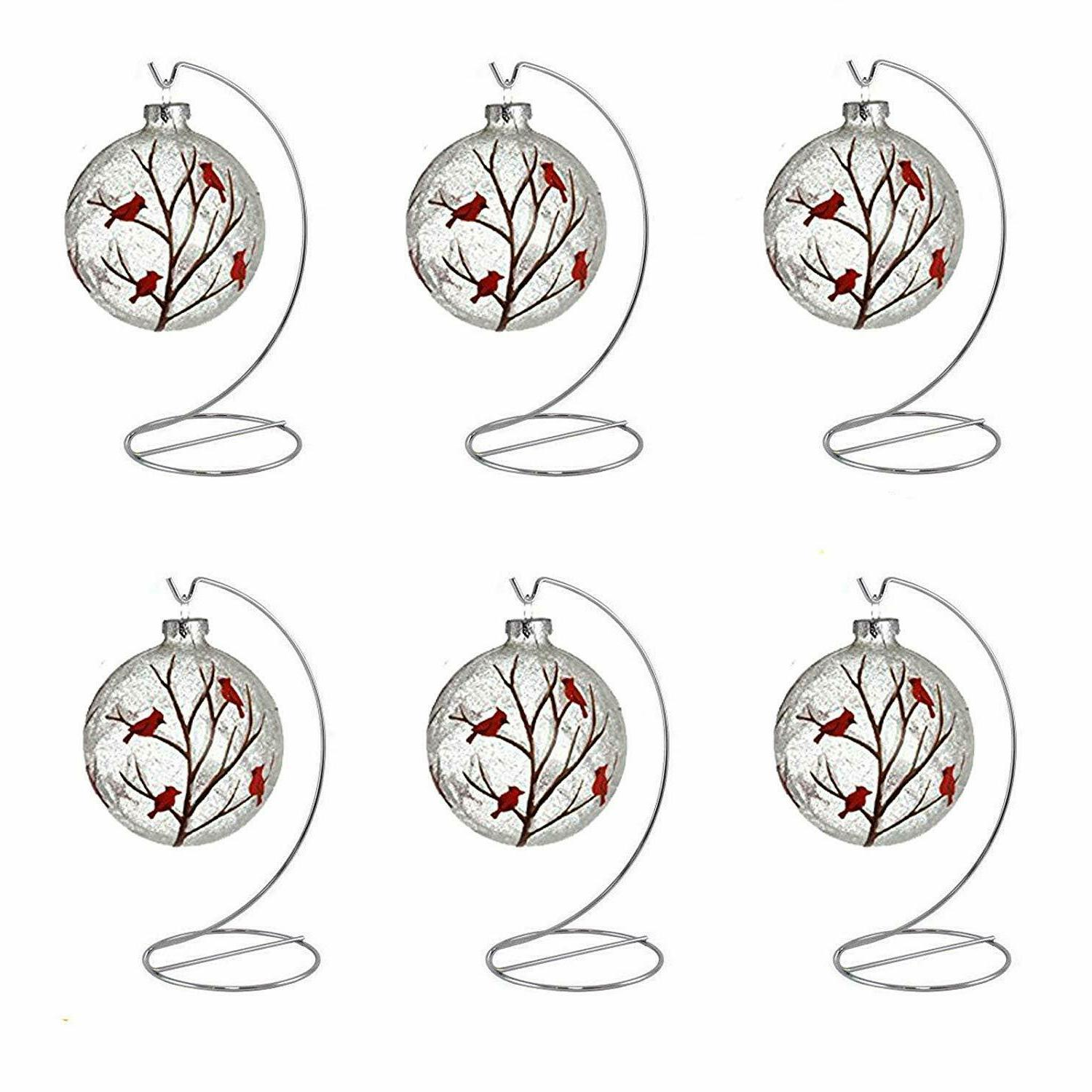 Ornament Display Stand Holder Christmas Hanger Hook Silver 8