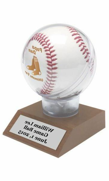 personalized baseball display stand on cherry finish