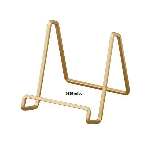 "4"" MEDIUM PLATE STAND GOLD Square Wire Display Easel Tripar"