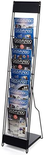 Displays2go Portable Magazine Rack with 10 Pockets for 8.5 x