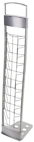 Portable Silver Floor Literature Rack Features 10 Pockets fo