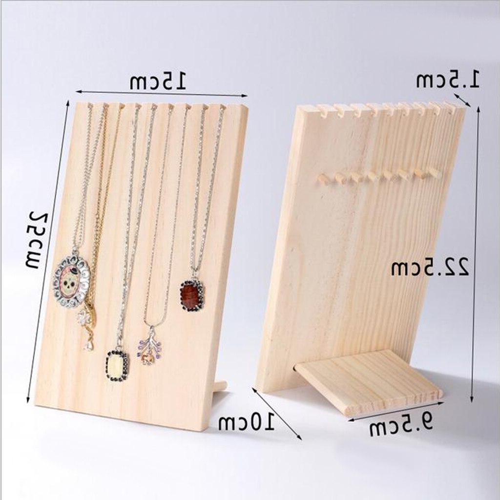 Retro <font><b>Wood</b></font> Necklace <font><b>Stand</b></font> Shows Hooks 24.5 x 15cm