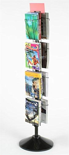 "60"" Rotating Wire Magazine Rack with 8 Pockets, Includes Sig"