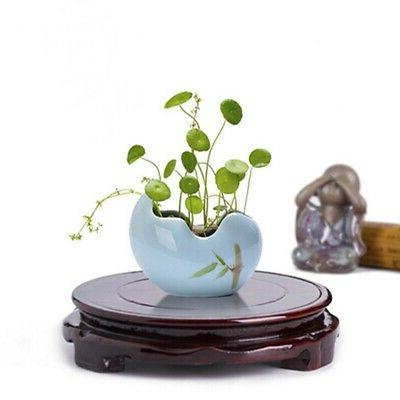 round wood pedestal rotatable base display stand
