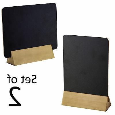 Set of 2 Tabletop Double Sided Chalkboard Display Sign Woode