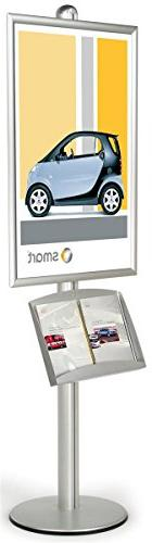 Silver Finish Large Poster Stand With Literature Tray Displa