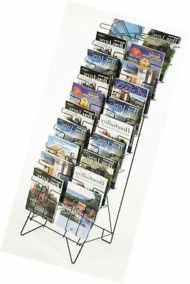 Displays2go Tiered Black Wire Magazine Rack, Free Standing F