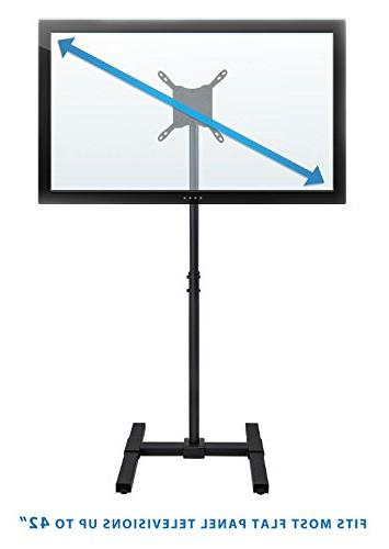 "Portable Standing - 30 35 40 42"" Height Telescoping For Indoor Use, VESA and 200, 44 Lbs"