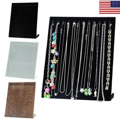 us jewelry velvet necklace chain display stand
