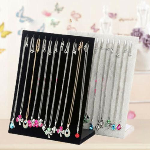 Velvet Necklace Chain Jewelry Display Holder Stand Easel Org