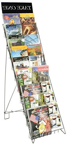 Displays2go Wire Literature Rack for Floor with 10 Tiers, 47